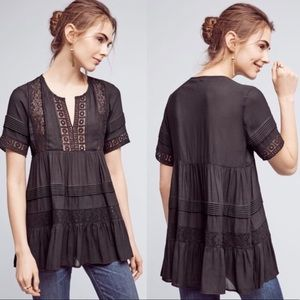 Anthropologie Maeve Tiered Black Lace Tunic Blouse
